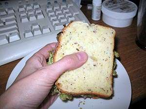 Photo: Sandwich with gluten-free bread. CC--rmkoske