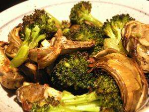 The finished roasted artichokes and broccoli. Photo: CC--Laurel Fan