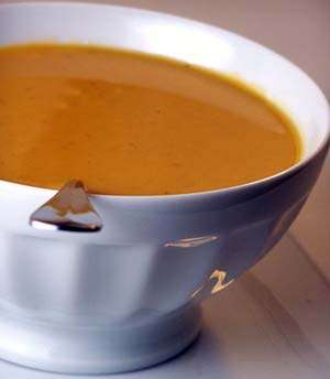 The finished cashew sweet potato soup. Photo-CC- Back to the Cutting Board.jpg