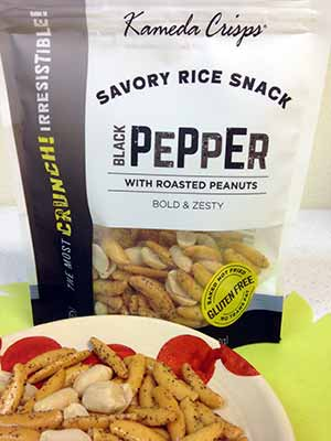 Kameda Crisps Gluten Free Black Pepper With Roasted Peanuts Savory Rice Snack