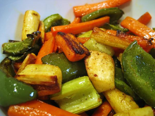 The finished roasted vegetable salad. Photo: CC--Stacy Spensley
