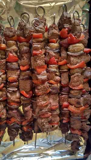 The marinated steak kebabs ready to BBQ. Photo: CC--Steve Jenkins
