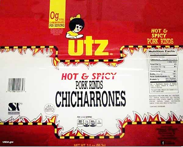 UTZ HOT AND SPICY PORK RINDS CHICHARRONES