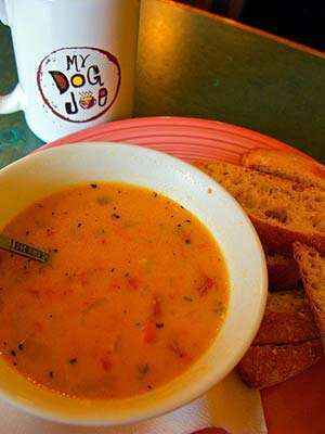 The finished chilled tomato and corn soup. Photo: CC-wmacphail