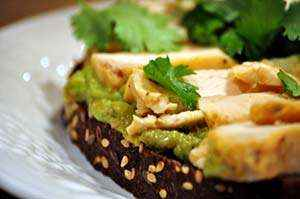 The finished toasted chicken with arugula guacamole. Photo: Amie Valpone