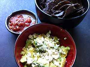 The finished quick cotija cheese and avocado dip for tortilla chips. Photo: Jefferson Adams