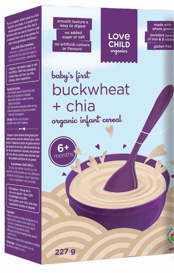 Love Child Organics brand Baby's First Buckwheat & Chia Organic Infant Cereal Recalled Due to Undeclared Gluten